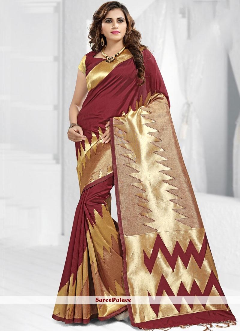 Banarasi Silk Abstract Print Maroon Trendy Saree