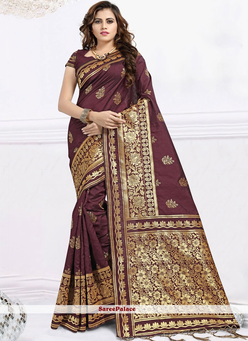 Banarasi Silk Abstract Print Trendy Saree in Brown