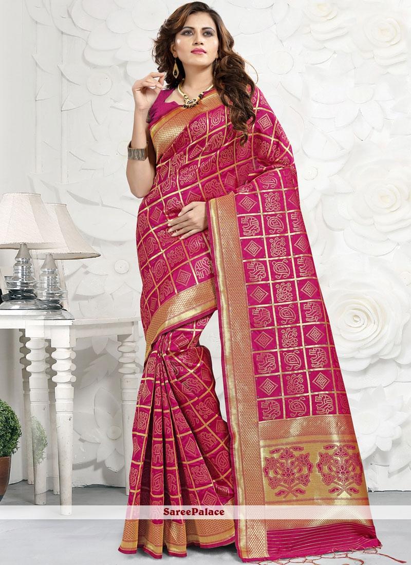 Banarasi Silk Abstract Print Trendy Saree in Rose Pink