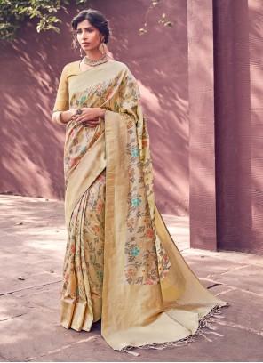 Banarasi Silk Beige Border Designer Traditional Saree
