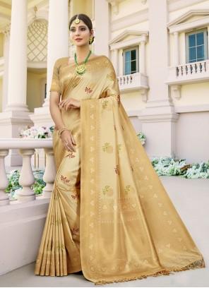Banarasi Silk Beige Designer Traditional Saree