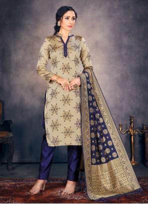 Banarasi Silk Beige Fancy Pant Style Suit