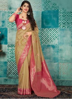 Banarasi Silk Beige Traditional Saree