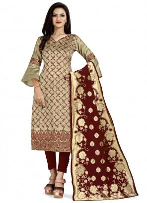 Banarasi Silk Beige Weaving Churidar Designer Suit