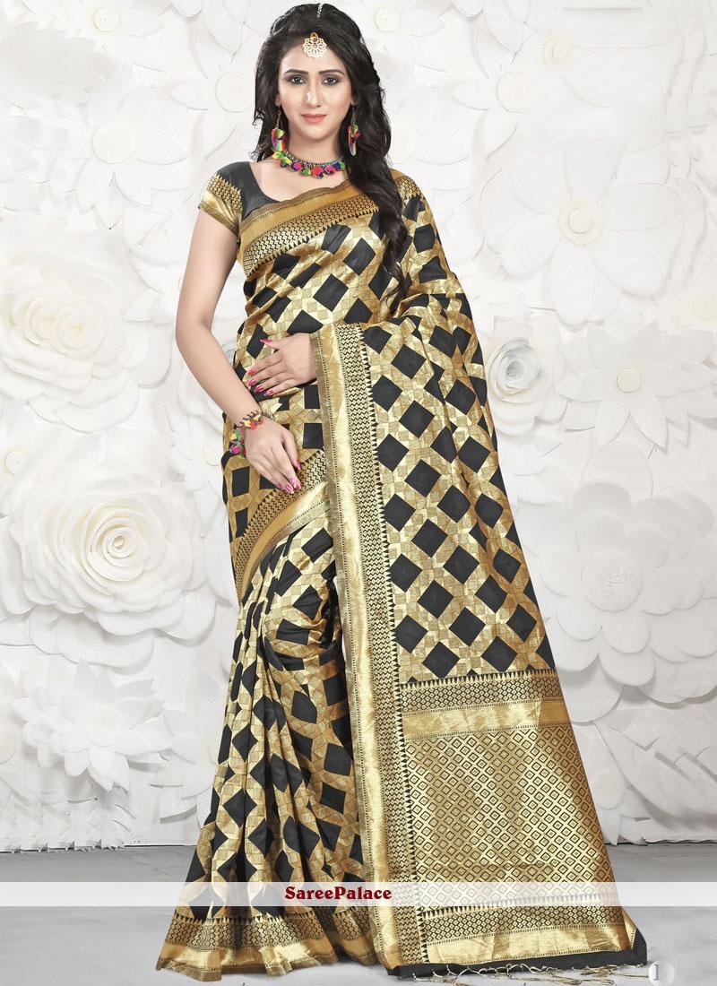 Banarasi Silk Black and Gold Classic Saree