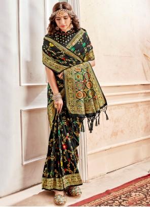Banarasi Silk Black Weaving Casual Saree