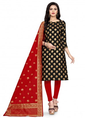 Banarasi Silk Black Weaving Churidar Designer Suit