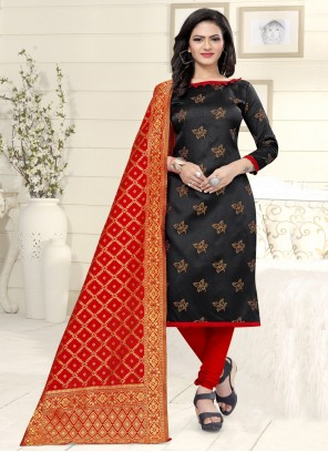 Banarasi Silk Black Weaving Churidar Suit