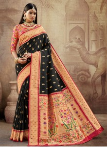 Banarasi Silk Black Weaving Traditional Saree