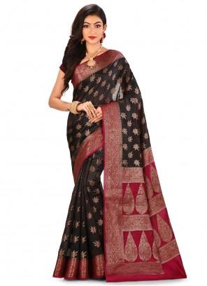 Banarasi Silk Black Weaving Trendy Saree