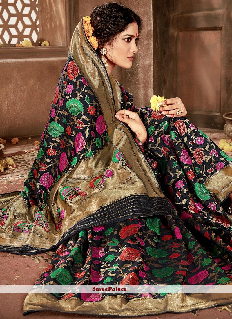 Banarasi Silk Black Weaving Work Designer Traditional Saree