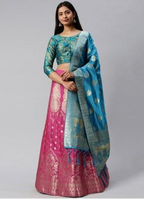 Banarasi Silk Blue and Pink Weaving Lehenga Choli