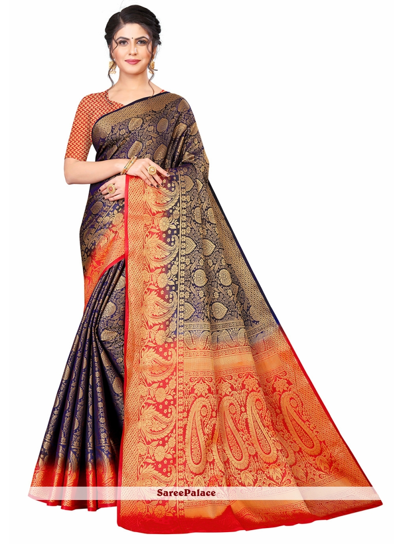 Banarasi Silk Blue and Red Designer Traditional Saree