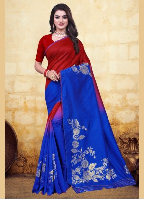 Banarasi Silk Blue and Red Half N Half  Saree