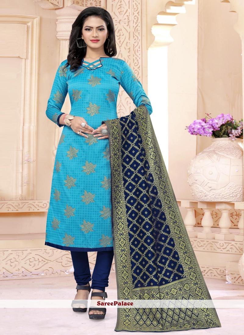 Banarasi Silk Blue Churidar Salwar Kameez