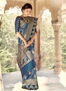 Banarasi Silk Blue Designer Saree