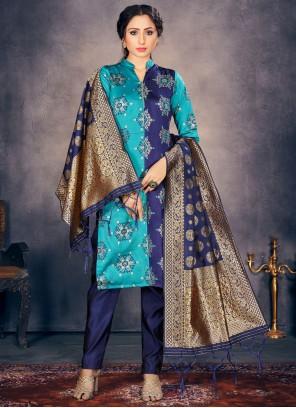Banarasi Silk Blue Fancy Pant Style Suit
