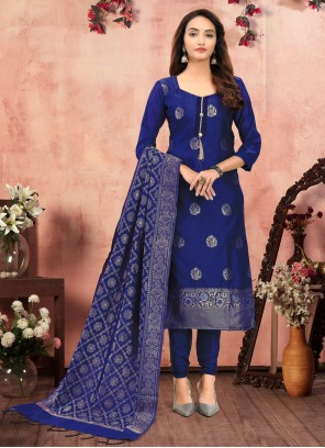 Banarasi Silk Blue Printed Churidar Designer Suit