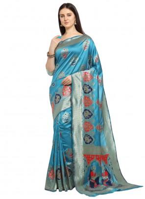 Banarasi Silk Blue Traditional Saree