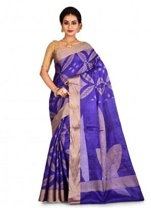 Banarasi Silk Blue Weaving Bollywood Saree