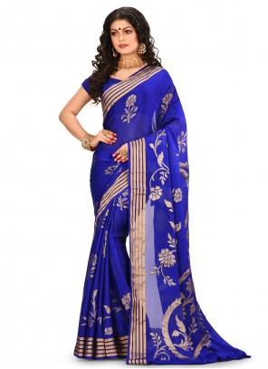 Banarasi Silk Blue Weaving Classic Saree