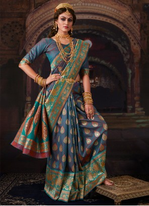 Banarasi Silk Blue Weaving Contemporary Saree
