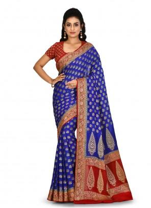 Banarasi Silk Blue Weaving Designer Saree