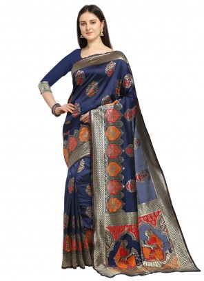 Banarasi Silk Blue Weaving Designer Traditional Saree