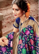Banarasi Silk Blue Weaving Work Traditional Designer Saree