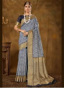 Banarasi Silk Blue Woven Designer Traditional Saree