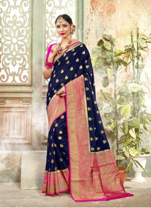 Banarasi Silk Blue Woven Traditional Designer Saree