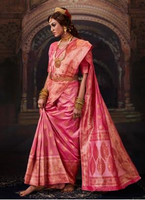 Pink Banarasi Silk Bollywood Saree