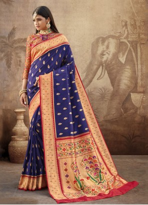 Banarasi Silk Bollywood Saree in Blue