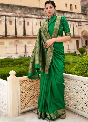 Banarasi Silk Bollywood Saree in Green