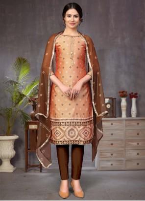 Banarasi Silk Brown and Peach Churidar Designer Suit