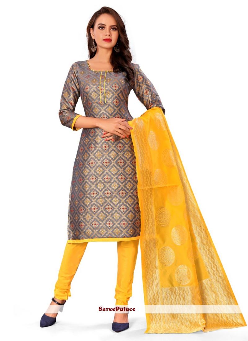 Banarasi Silk Grey Casual Churidar Designer Suit