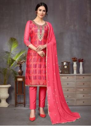 Banarasi Silk Ceremonial Hot Pink Churidar Designer Suit
