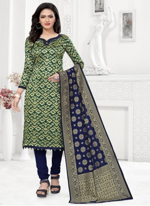 Banarasi Silk Ceremonial Green Churidar Suit