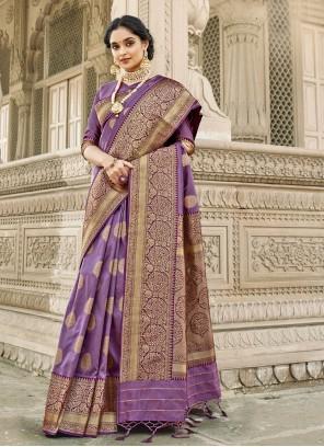 Banarasi Silk Ceremonial Purple Designer Saree