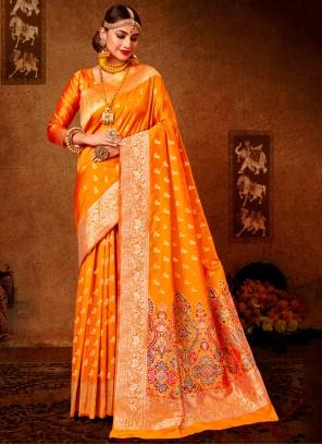 Banarasi Silk Ceremonial Designer Mustard Traditional Saree