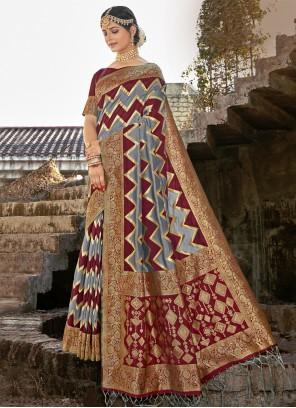Banarasi Silk Grey and Maroon Ceremonial Designer Traditional Saree
