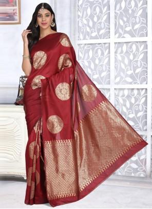 Red Banarasi Silk Ceremonial Designer Traditional Saree
