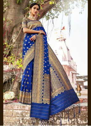 Banarasi Silk Ceremonial Blue Traditional Designer Saree