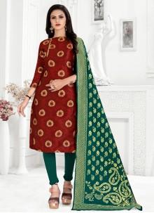 Banarasi Silk Churidar Maroon Designer Suit
