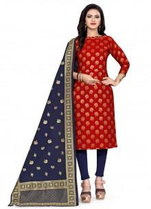 Banarasi Silk Churidar Red Designer Suit
