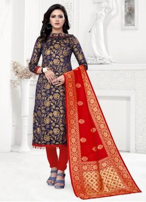 Banarasi Silk Navy Blue Churidar Designer Suit