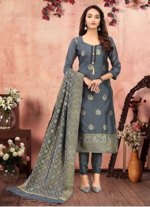 Banarasi Silk Churidar Grey Designer Suit