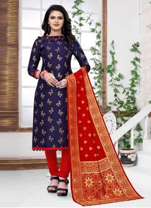 Banarasi Silk Blue Churidar Salwar Suit