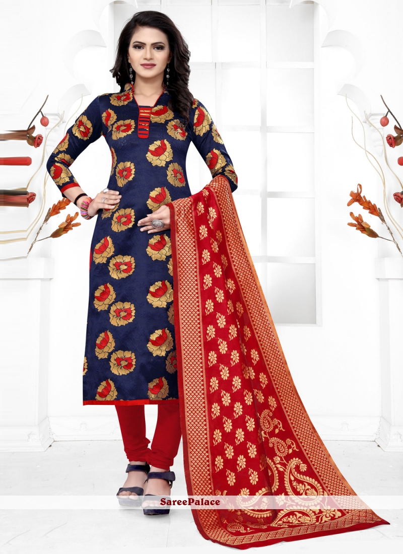 Banarasi Silk Churidar Salwar Suit in Navy Blue
