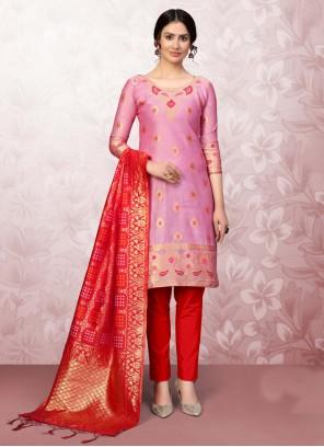 Banarasi Silk Churidar Salwar Suit in Pink